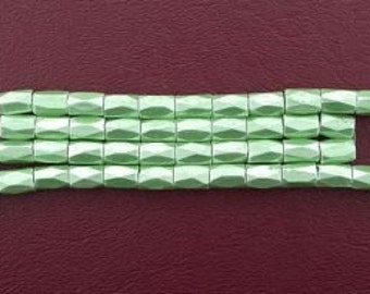 lime green magnetic hematite faceted beads 8mm x 5mm
