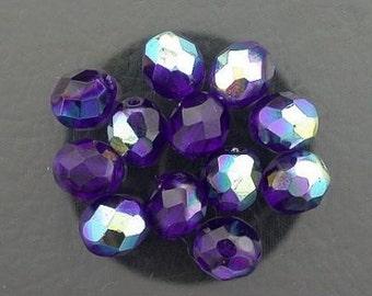 12 cobalt blue  ab czech fire crystal beads 8mm