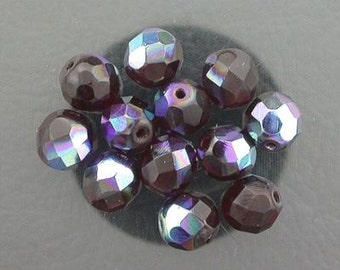 12  ruby  ab czech fire crystal beads 8mm