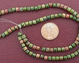 4mm drum gemstone unakite beads