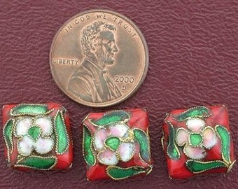three 13mm floral square pillow cloisonne beads
