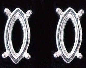 sterling pair 10x5 marquise gemstone earring mounting