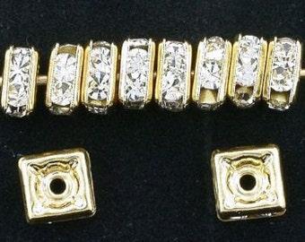 ten 5mm gold plated squaredelle czech rhinestone bead