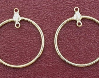 one pair vintage goldplated round earring drops