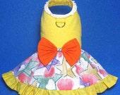 Yellow Star Printed Dog Clothes Harness Ruffles Dress 836001 XXS