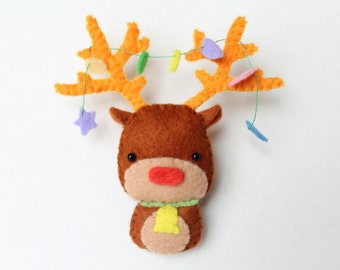 PDF Pattern - Felt Reindeer Christmas Ornament