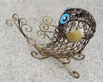 Lacey Filigree Fish metal sculpture