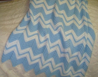 Blue and White Ripple Baby Afghan