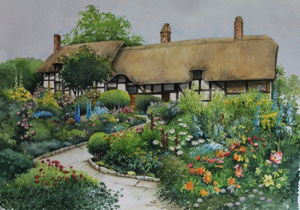 English country garden original fine art watercolour for Fine gardens landscaping