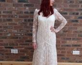 1970's Lace Fish Tail Wedding Dress