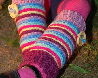 Crochet Pattern: Candy Stripe Legwarmers w/ Permission to sell finished item, 6 sizes