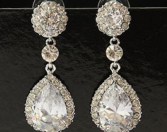 Bridal Earrings, Swarovski Crystal Earrings, Drop Dangle Bridal Earrings, Bridal Stud Earrings