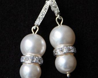 Bridal Pearl Earrings, Swarovski Pearl Earrings, Sterling Silver Cubic Zirconia Bridal Earrings, Bridal Leverback Earrings