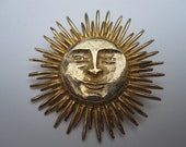 Vintage ACCESSOCRAFT N.Y.C. Gold Tone Sun with Face Pin/Brooch - JennysVintageView