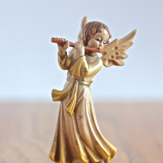 Vintage Hand Carved Angel With Flute By Thewrinklyelephant