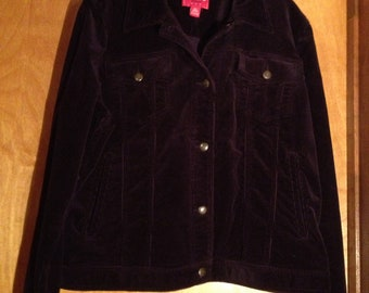Size Extra-Large)-Rich Deep Purple CORDUROY JACKET by CHAPS Denim