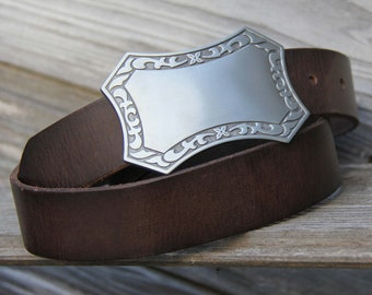 """Men's Dark Brown Distressed Leather """"Wyatt"""" Belt Size 36"""