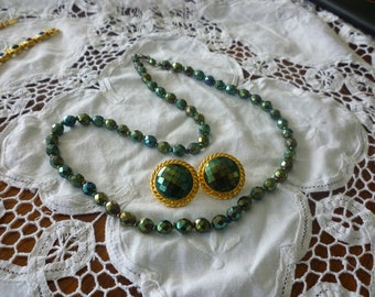 Vintage Deep Green Aura Borealis Necklace & Earrings