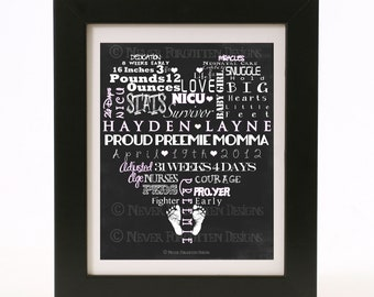 Customized Word Art for Preemie Moms and Nurseries - Baby Shower or Coming Home Gift
