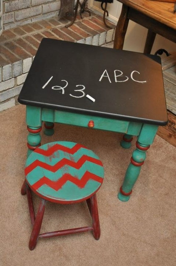 Child S Chalkboard Table With Matching Stool
