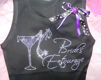 1  Bride's Entourage Martini Glass Rhinestone Iron On Transfers. Bride Martini Glass Rhinestone Iron On.
