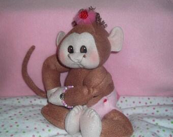 "12"" Monkey Baby Girl Cloth Doll Hand Sculpted Valentines Easter plush stuffed animal toy handmade Christmas birthday floppy toy"