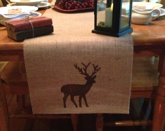 """Burlap Table Runner 12"""", 14"""" or 15"""" wide with Deer silhouette - Cabin lodge decor Holiday decorating Hunting decor"""