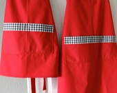 Mama and Me Matching Red Aprons with Black and White Gingham accents ( Set of 2) RESERVED FOR JAMIE