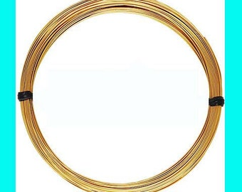 5ft 24 gauge 14k yellow gold filled round beading wire bright shinny yellow dead soft w24DSg
