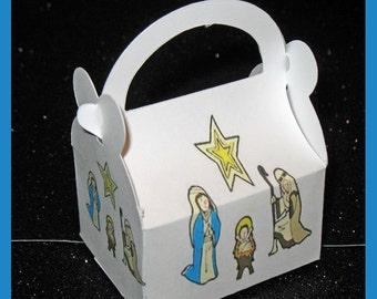 Nativity favor box, Baby Jesus gift box, Holy Family favor box, Christmas favor box