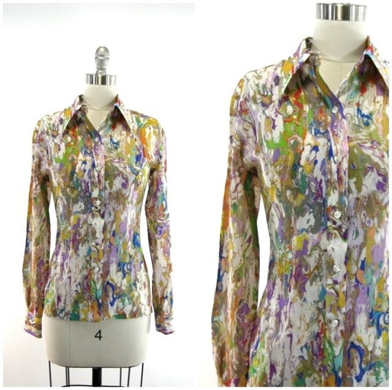 colorful marble pattern 70s blouse / novelty print semi sheer vintage top M