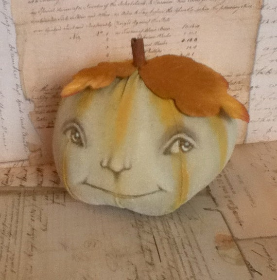 "Folk Art Autumn Halloween Pumpkin Doll ""Hopeful Henny"""