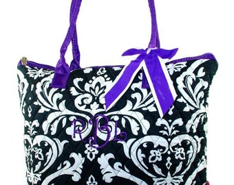 Personalized Tote Bag | Shoulder Tote Bag | Cute Damask Bag | Purple accented | Damask Carry-all | Quilted Tote | Purple Trim Damask Bag