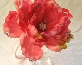 Big Beautiful Rose Headband with gems and pearls