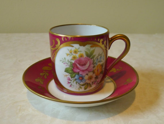 Vintage Limoges Demitasse Cup and Saucer handpainted Floral cranberry red