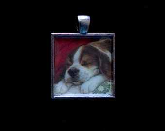 Sleepy puppy, Metal frame pendant, 1 inch square
