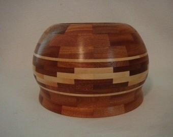 "Segmented  9"" Sepele Mahagony and Maple bowl/jar"