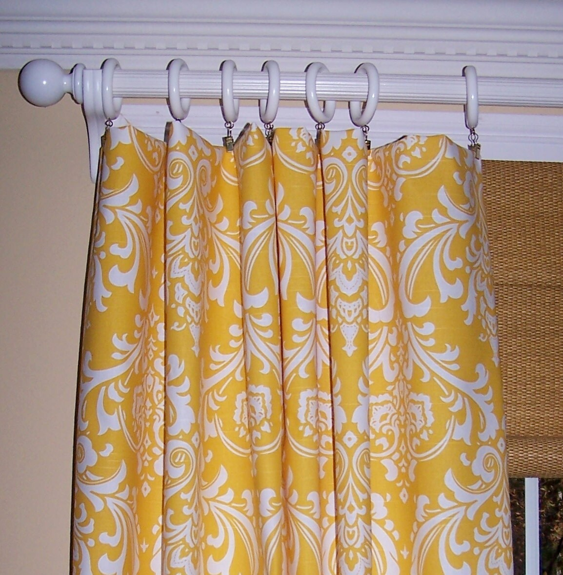 Yellow Damask Curtains Premier Fabric By Cathyscustompillows