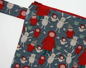 Medium size fabric zippered pouch with strap, Meet the Gang by Marisa and Creative Thursday