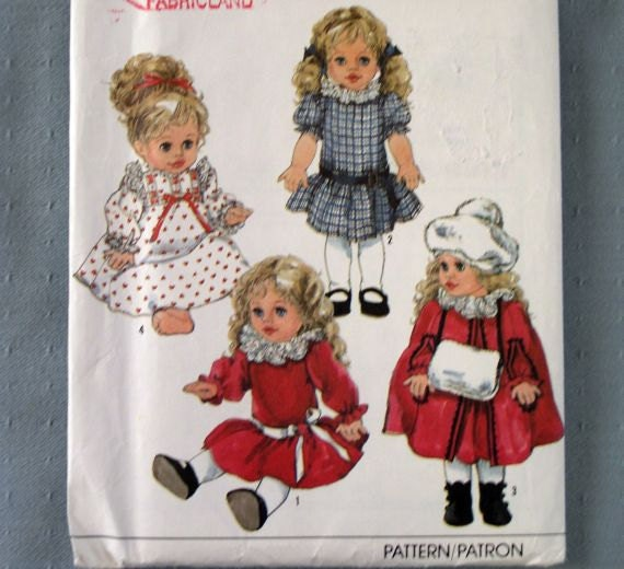"""Simplicity Sewing Pattern 9478 Doll Clothes S M L Small Medium Large Uncut 14"""" 16"""" 17"""" 18"""""""
