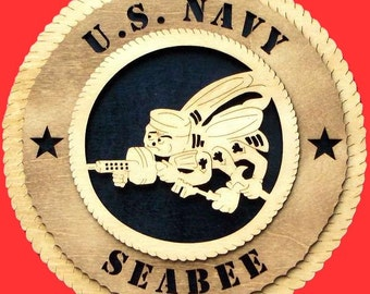 "U.S. Navy Seabee Wood Wall Hanging Plaque - Measures 11 1/2"" - Can be personalized with name and choice of background colors"
