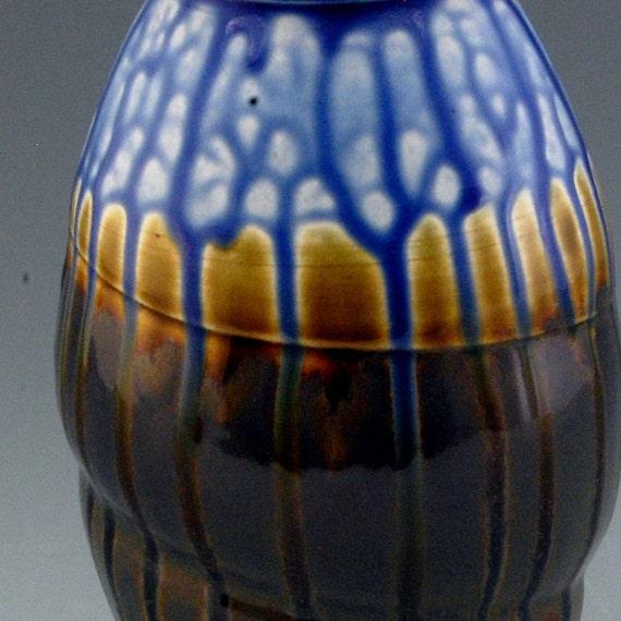 Pottery Handmade Porcelain Vase Brown soft blue