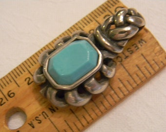"""Fashion Style Sterling Silver 925 Unique Setting Turquoise Pendant 1.25"""" Long 12.5g #415"""