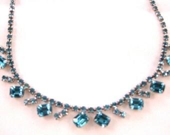 Vintage Blue Rhinestone Art Deco Necklace