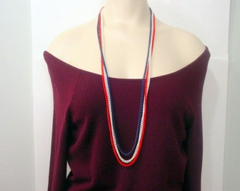 Vintage Patriotic Necklace, Red white and Blue chains multistrand necklace american vintage jewelry