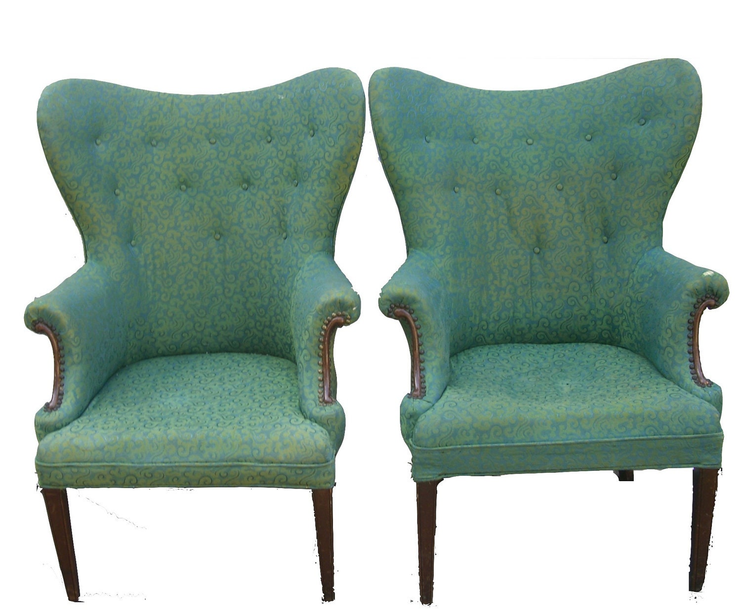 Pair antique mad hatter wingback chairs in by theotherpalmfrond