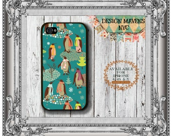 Penguins iPhone Case, Holiday iPhone Case, Winter Phone Case, iPhone 7, 7 Plus, iPhone 6, 6 Plus, SE, iPhone 5, 5s, 5c, 4, 4s