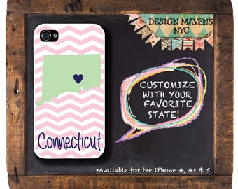 Connecticut iPhone Case, Personalized iPhone Case, State Phone Case , Fits iPhone 4, 4s, iPhone 5, 5s, 5c, iPhone 6, 6 Plus, Phone Cover