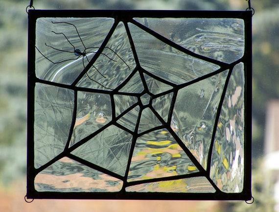 Stained Glass Spiderweb Suncatcher Halloween Window Decoration ...