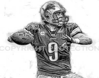 BW Matt Stafford Detroit Lions Art Print,12x18, signed and numbered by artist